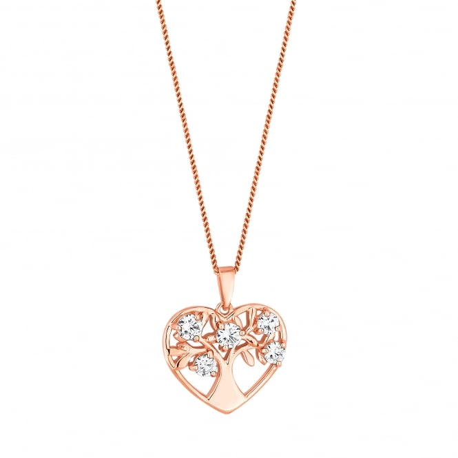 Simply Silver 14ct Rose Gold Plated Sterling Silver Cubic Zirconia Heart Tree Of Life Necklace