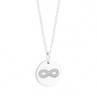 Sterling Silver Disc With Cubic Zirconia Infinity Pendant Necklace