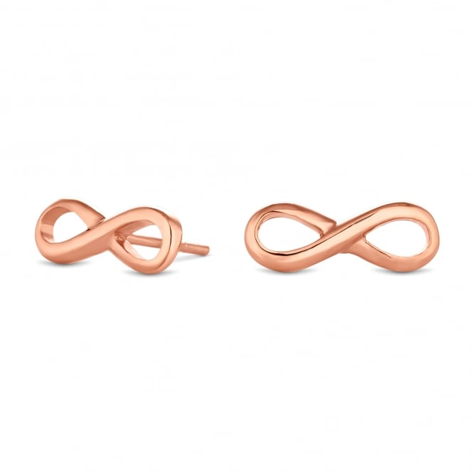 14ct Rose Gold Plated Sterling Silver Infinity Stud Earring