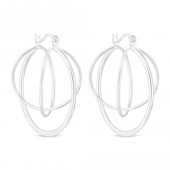 Sterling Silver Large Orbit Hoop Earring