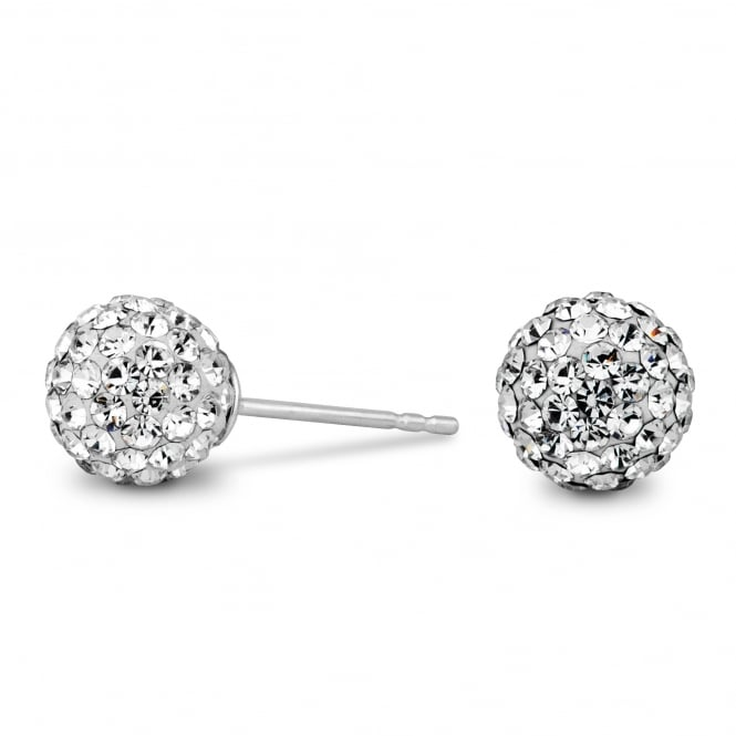 Sterling Silver Large Pave Ball Stud Earring