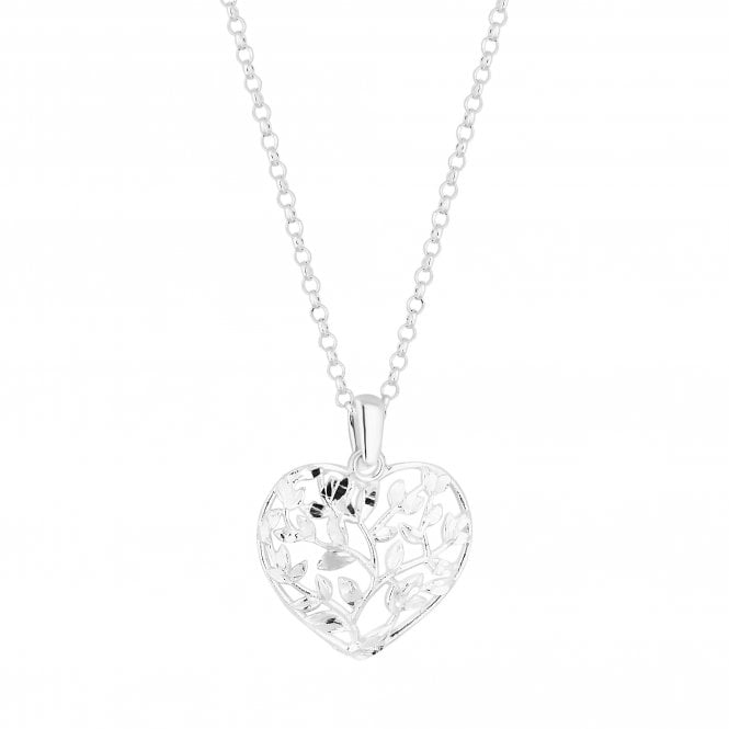 Sterling Silver Leaf Entwined Heart Pendant Necklace