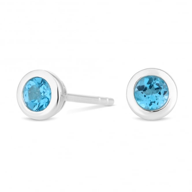 Sterling Silver Light Blue Topaz March Birthstone Stud Earring