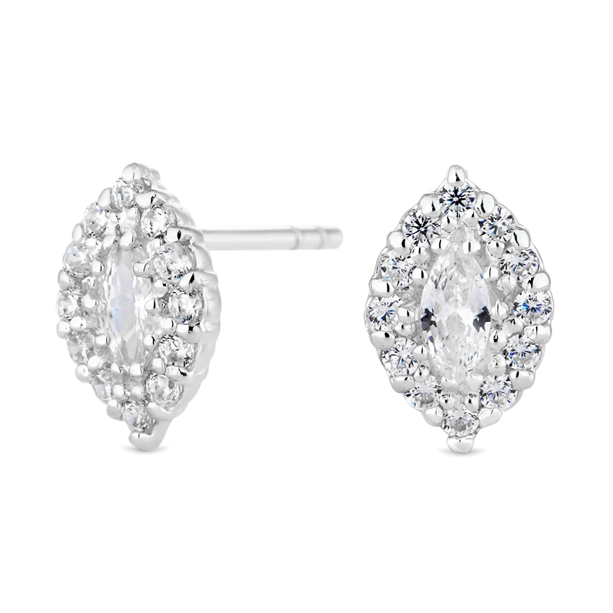 earrings jewelry triple brooke stud gold marquise gallery gregson lyst sapphire in
