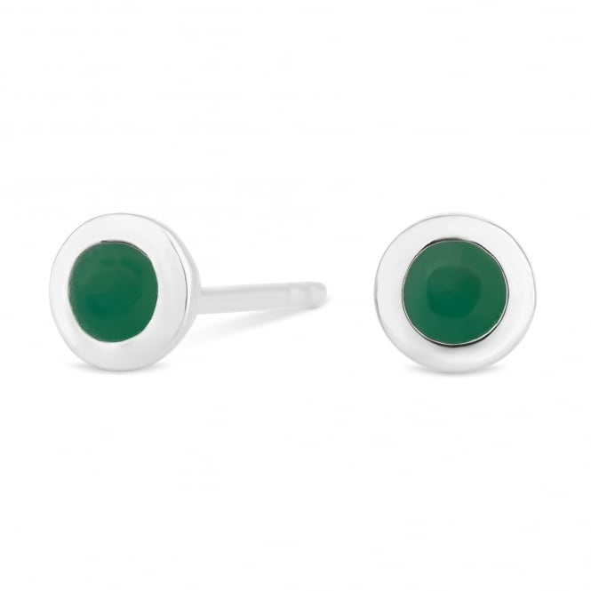 Sterling Silver Green Emerald May Birthstone Stud Earring