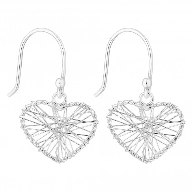 Sterling Silver Mesh Heart Drop Earring