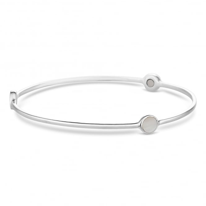 Simply Silver Sterling silver mother of pearl bangle