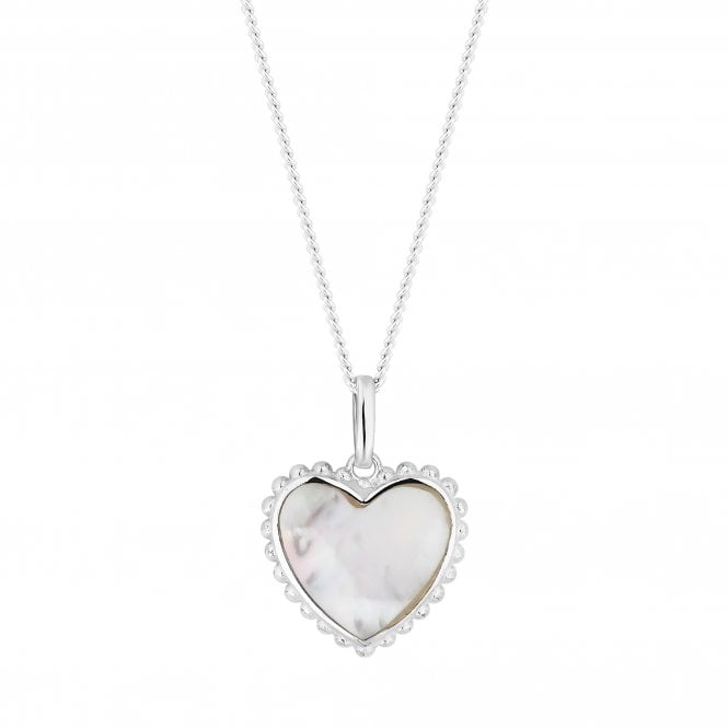 Sterling Silver Mother Of Pearl Heart Pendant Necklace