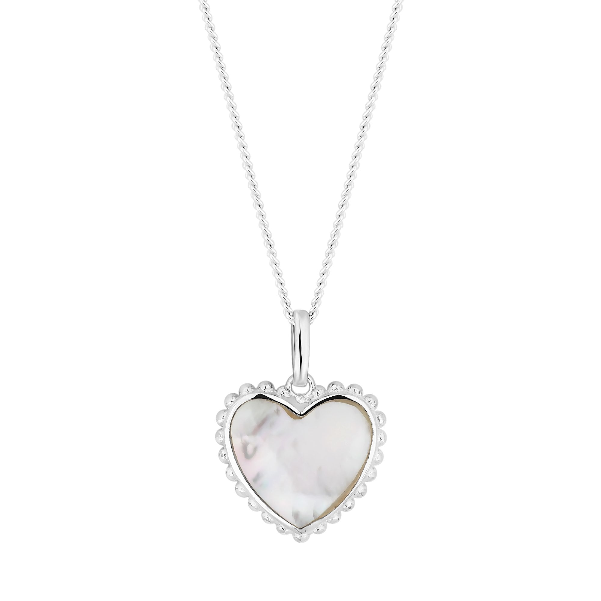 Simply silver sterling silver mother of pearl heart pendant necklace sterling silver mother of pearl heart pendant necklace aloadofball Image collections