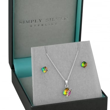 Sterling silver multi colour cube jewellery set