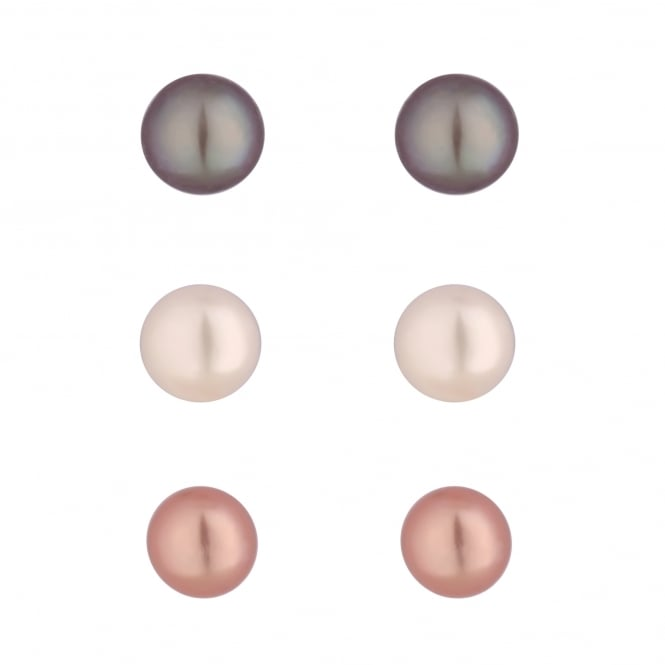 Sterling Silver Grey/ Pink/ White Pearl Stud Earring Set - Pack of 3