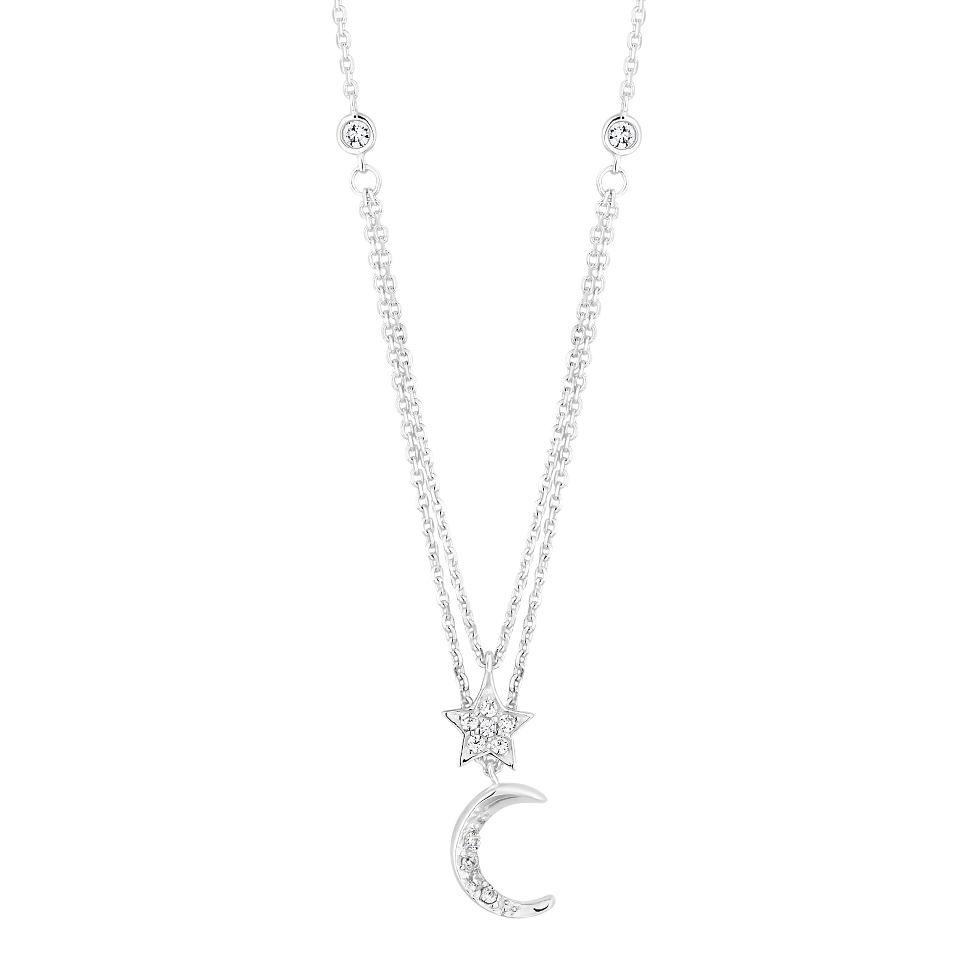 necklaces star multi row zoom silver necklace simply celestial and sterling moon jewellery