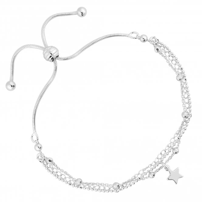 Sterling Silver Multi Row Star Toggle Bracelet