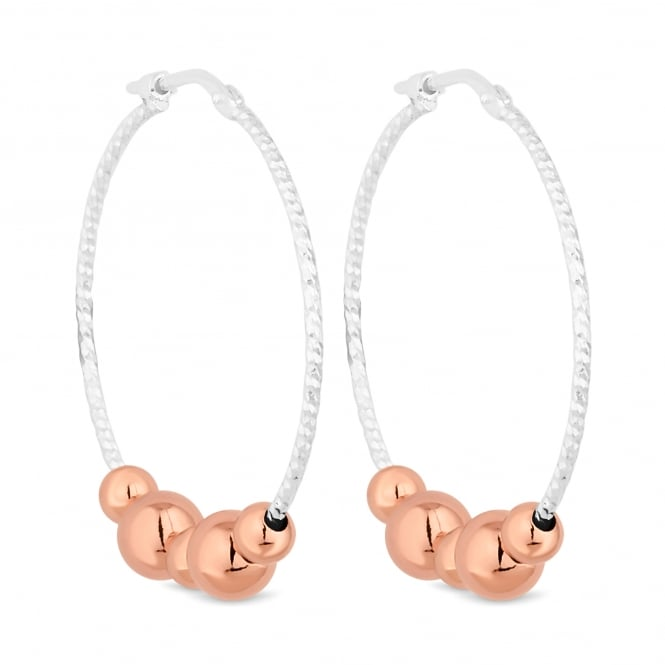 Simply Silver 14ct Rose Gold Plated Sterling Silver Beaded Hoop Earring