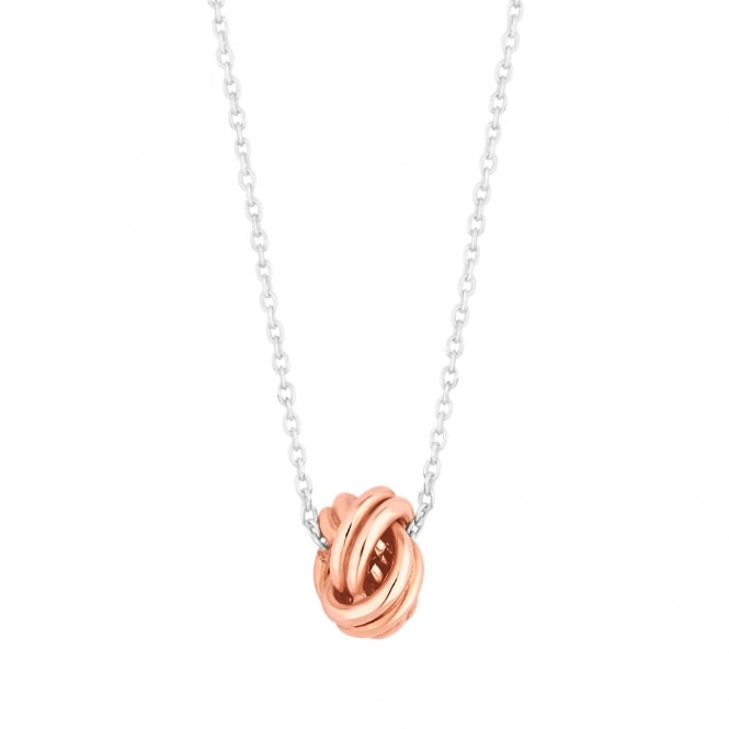 14ct Rose Gold Plated Sterling Silver Knot Necklace