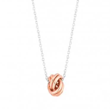 Sterling silver multi tone knot necklace