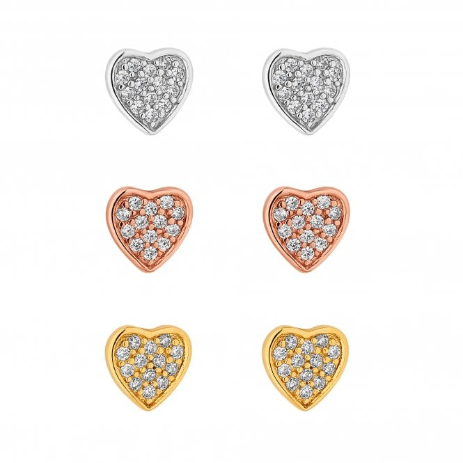 Sterling Silver Multi Tone Pave Heart Earring Set