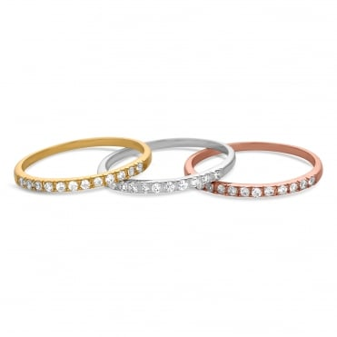 Sterling silver multi tone stacking ring set