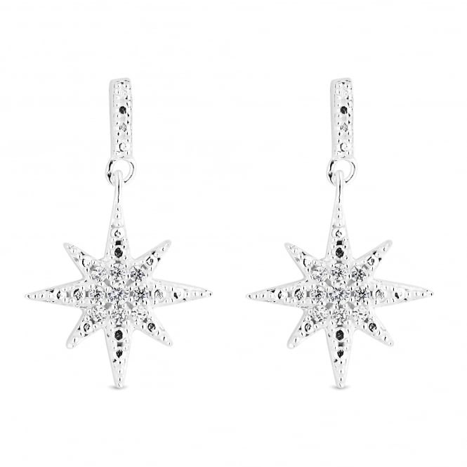 Simply Silver Sterling Silver Cubic Zirconia North Star Drop Earring
