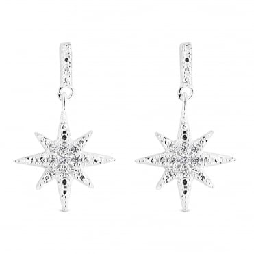 Sterling Silver Cubic Zirconia North Star Drop Earring