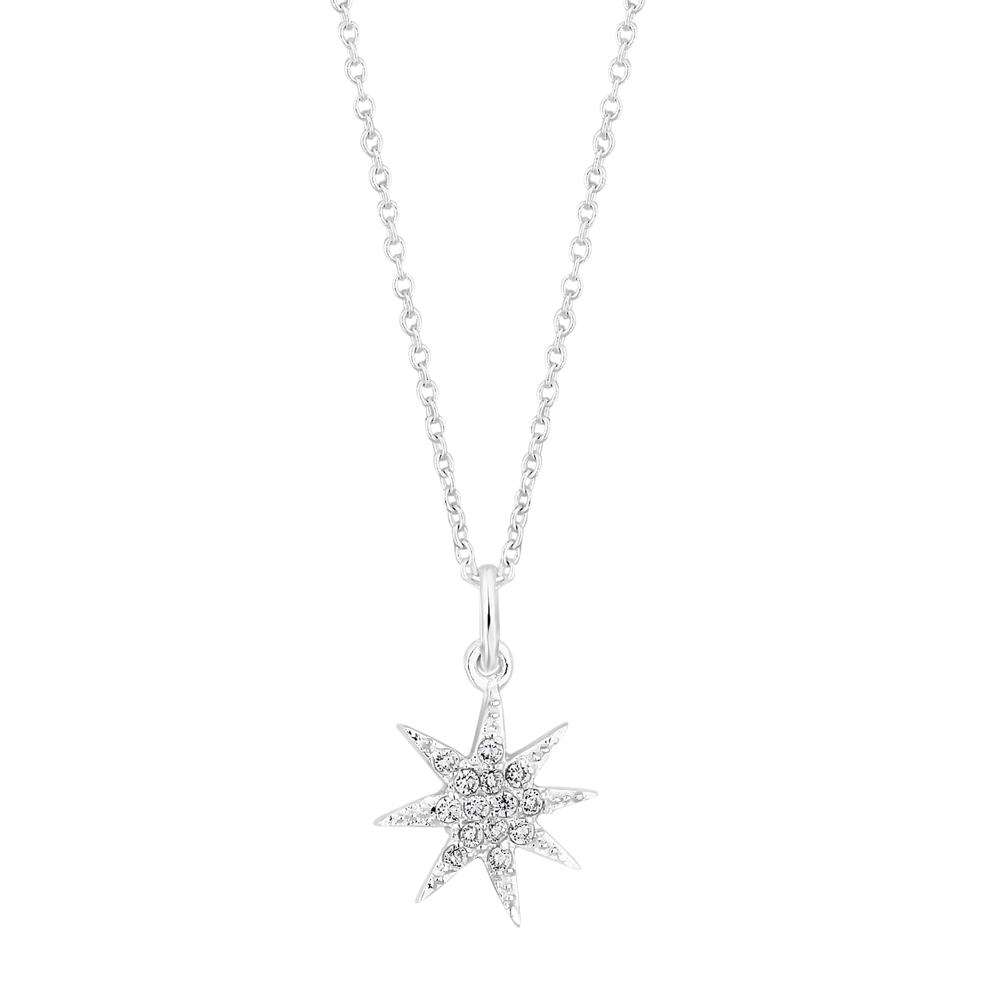 Simply silver sterling silver cubic zirconia north star pendant sterling silver cubic zirconia north star pendant necklace mozeypictures Image collections