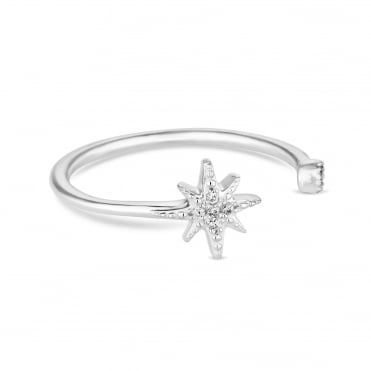 Sterling silver north star ring