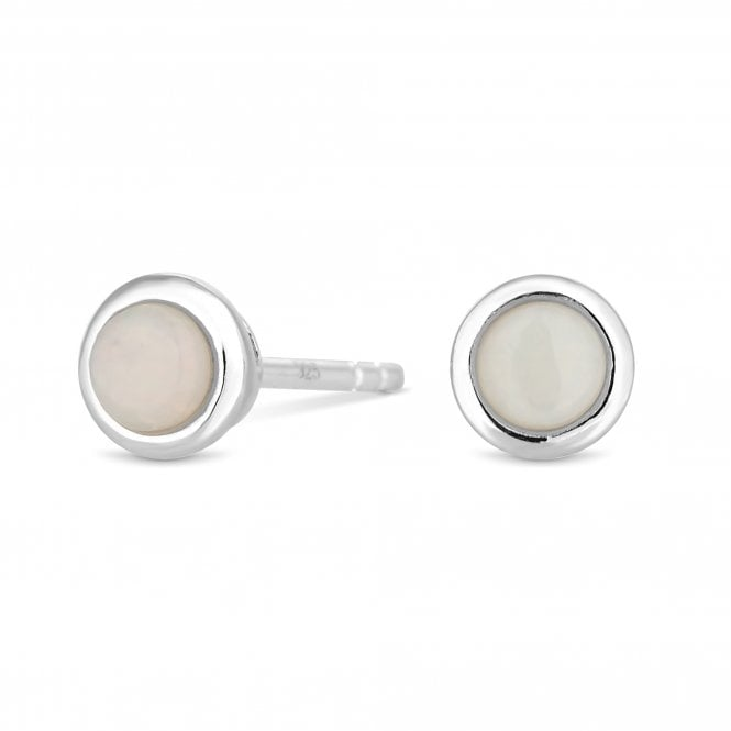 Sterling Silver Opal October Birthstone Stud Earring