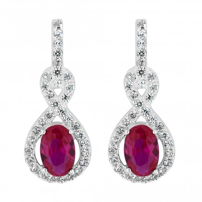 Sterling Silver Oval Cubic Zirconia Drop Earring