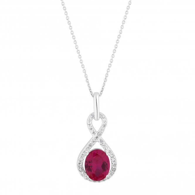 Sterling Silver Oval Cubic Zirconia Twist Pendant Necklace