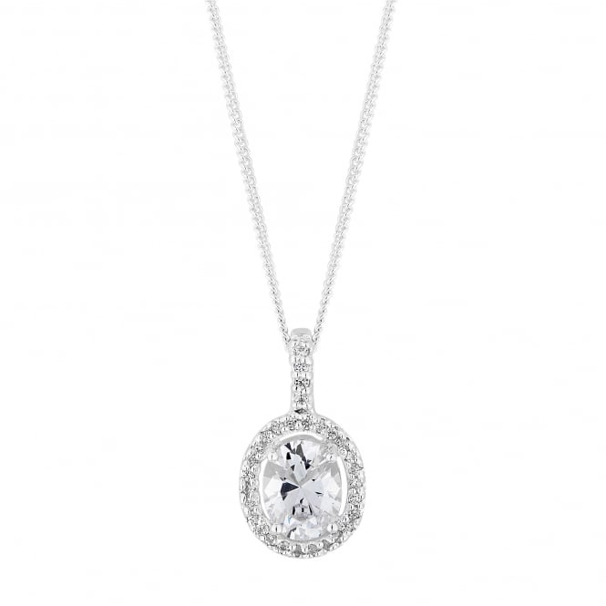 Sterling Silver Cubic Zirconia Oval Shaped Halo Pendant Necklace