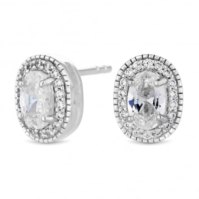 Simply Silver Sterling Silver Cubic Zirconia Oval Halo Stud Earring