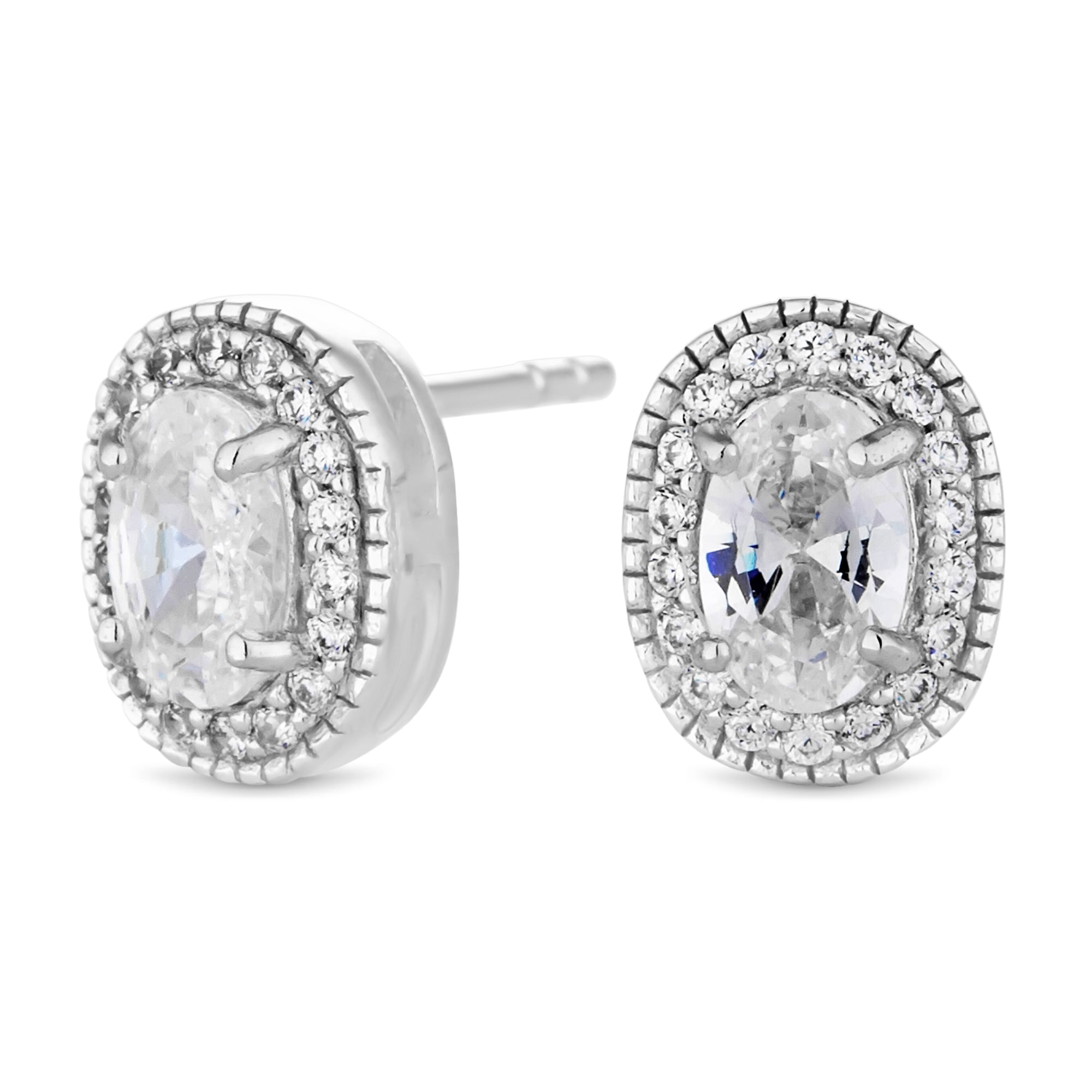 plated stud in halo rhodium dce earring and silver earrings cz sterling