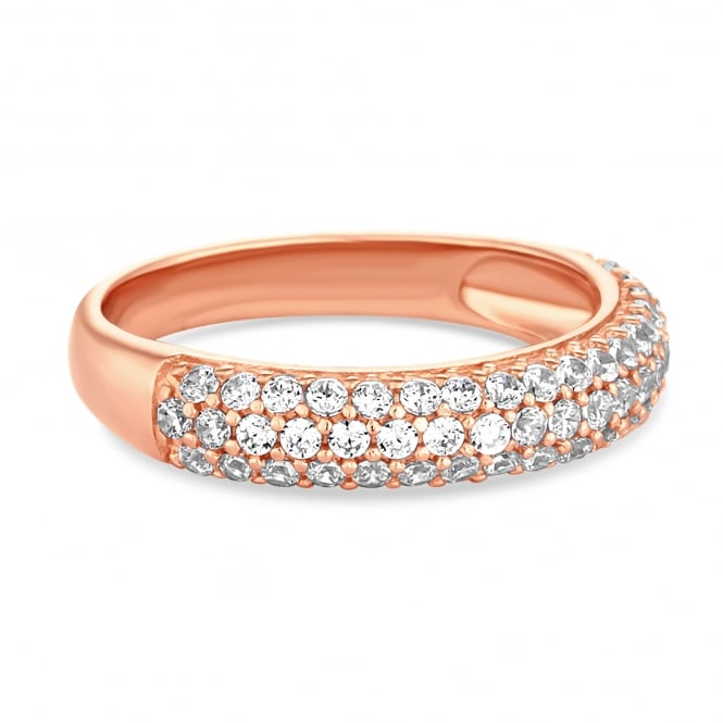 14ct Rose Gold Plated Sterling Silver Cubic Zirconia Pave Band Ring