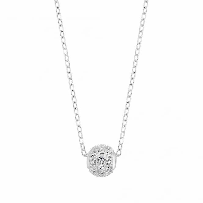 Simply Silver Sterling Silver Pave Bead Necklace