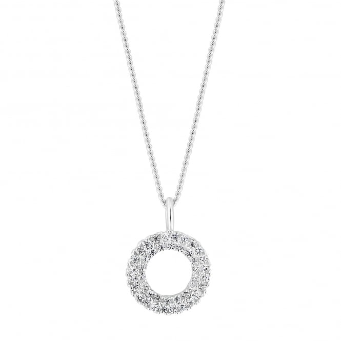Simply Silver Sterling Silver Cubic Zirconia Pave Circle Pendant Necklace