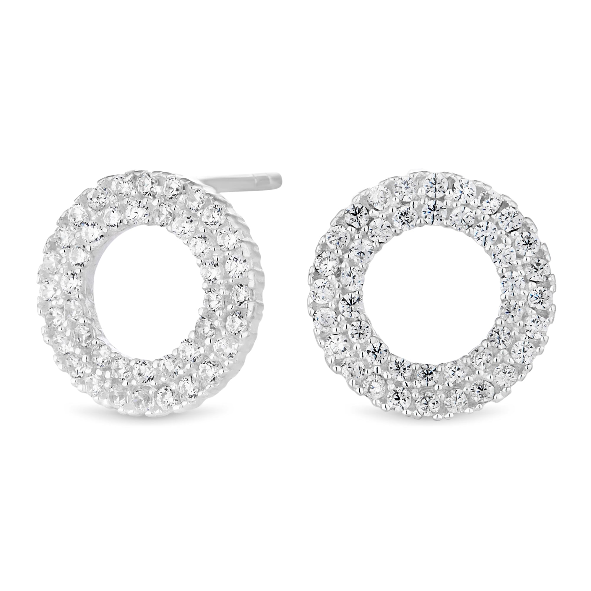 Sterling Silver Cubic Zirconia Pave Circle Stud Earring