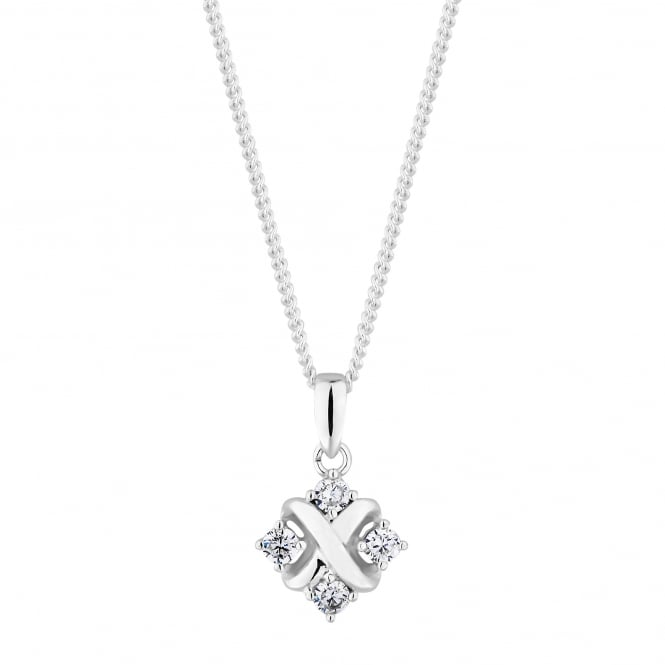 Simply Silver Sterling silver pave cross necklace