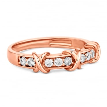 14ct Rose Gold Plated Sterling Silver Pave Cross Ring