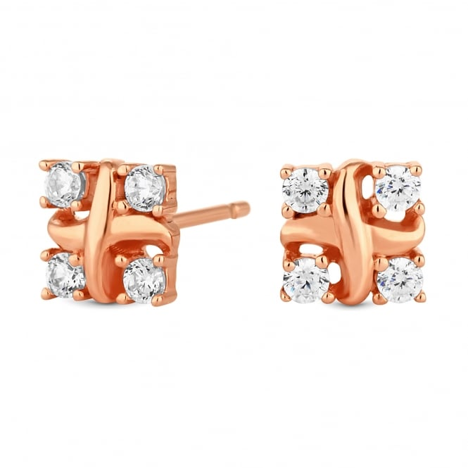 14ct Rose Gold Plated Sterling Silver Cubic Zirconia Knot Stud Earring