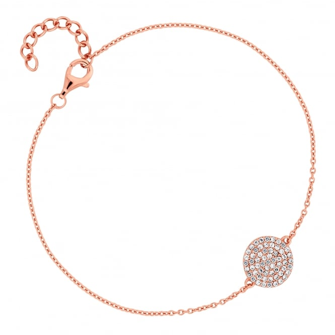 Simply Silver 14ct Rose Gold Plated Sterling Silver Pave Disc Bracelet