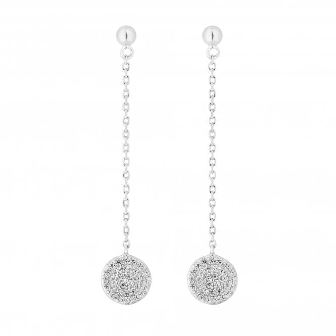 Sterling Silver Pave Disc Drop Earring