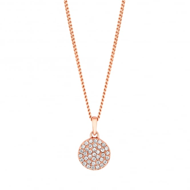 Simply Silver Sterling silver pave disc necklace