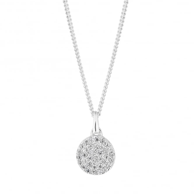 Sterling Silver Cubic Zirconia Pave Disc Pendant Necklace