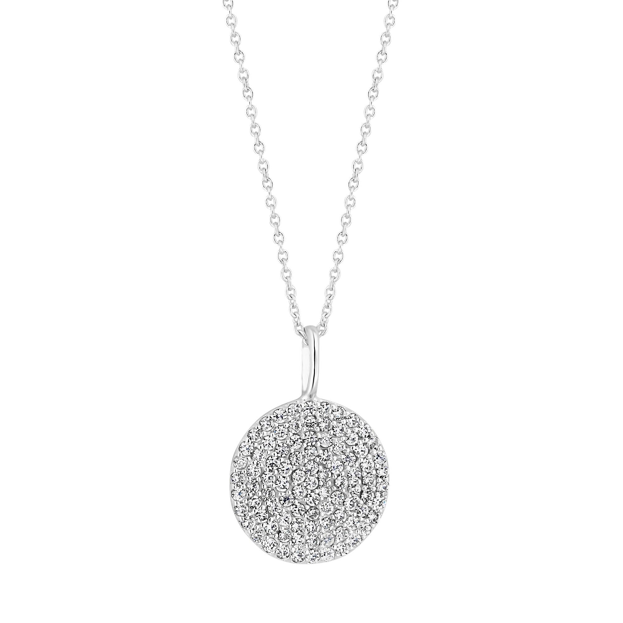 Simply silver sterling silver pave disc pendant necklace jewellery sterling silver pave disc pendant necklace mozeypictures Image collections