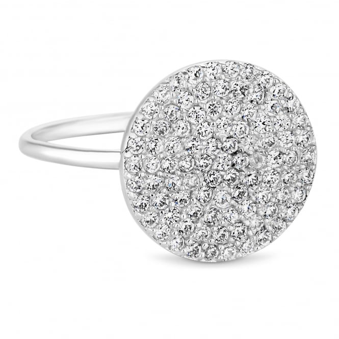 Simply Silver Sterling silver pave disc ring