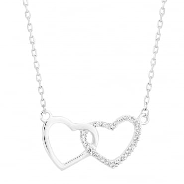 Sterling Silver Pave Double Interlocked Heart Necklace