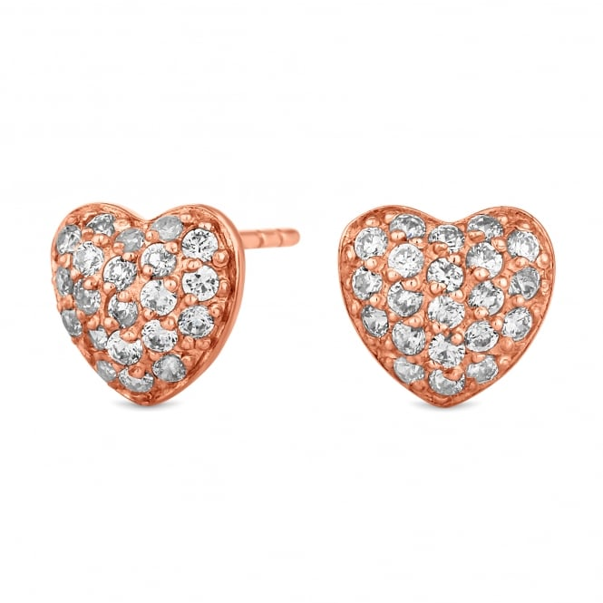 Simply Silver Sterling silver pave heart earring