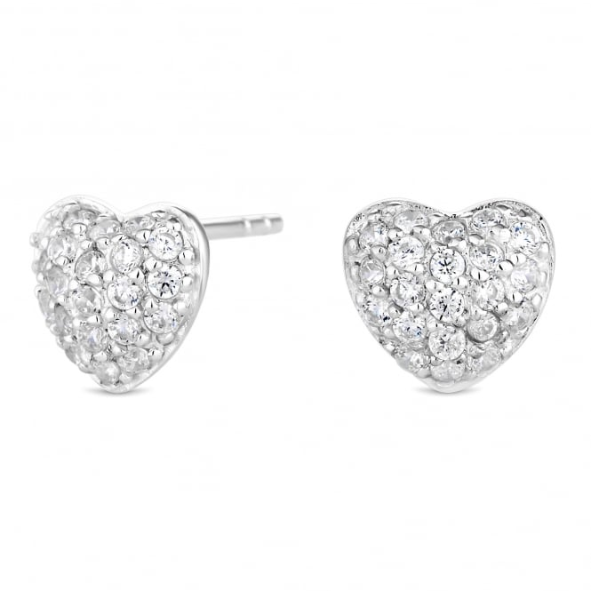 Simply Silver Sterling Silver cubic Zirconia Pave Heart Stud Earring