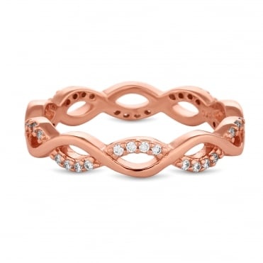 14ct Rose Gold Plated Sterling Silver Cubic Zirconia Pave Intertwining Infinity Band Ring