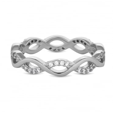 Sterling Silver Cubic Zirconia Pave Intertwining Infinity Band Ring